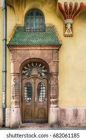 Subotica, Serbia - April 23, 2017: Wooden Vintage Door in Subotica city, Serbia