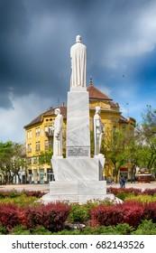 Subotica, Serbia - April 23, 2017: Monument to the emperor Jovan Nenad in Subotica city, Serbia