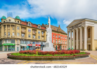 Subotica, Serbia - April 23, 2017: Monument to the emperor Jovan Nenad and national theatre in Subotica city, Serbia