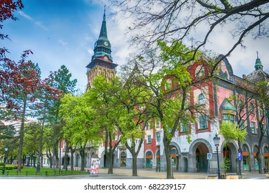 Subotica, Serbia - April 23, 2017: Retro building of city hall in Subotica city, Serbia