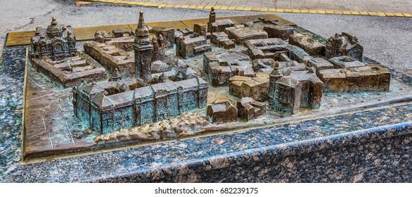 Subotica, Serbia - April 23, 2017: Bronze model of Subotica town, Serbia