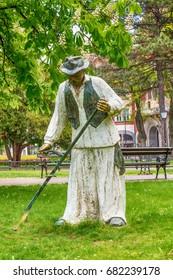 Subotica, Serbia - April 23, 2017: The mower statue - risar in Subotica town, Serbia