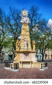 Subotica, Serbia - April 23, 2017: The Holy Trinity monument in Subotica town, Serbia