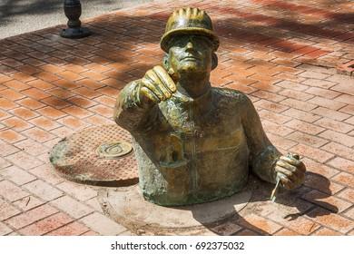 Subotica, Serbia - April 23, 2017: Plumber sculpture in Subotica town, Serbia