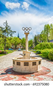 Subotica, Serbia - April 23, 2017: Memorial fountains for the Olympians. It is dedicated to athletes from Subotica who have won Olympic medals