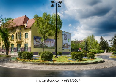 Subotica, Serbia - April 23, 2017: Roundabout and city museum in Subotica town, Serbia