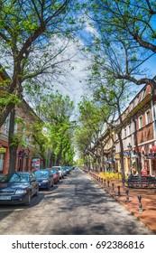 Subotica, Serbia - April 23, 2017: Street in Subotica city, Serbia