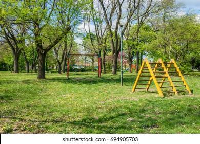 Subotica, Serbia - April 23, 2017:  Child park in Subotica town, Serbia