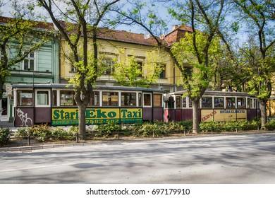 Subotica, Serbia - April 23, 2017: Vintage tram in Subotica town, Serbia