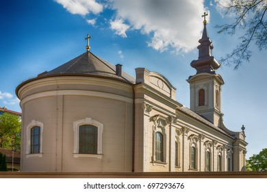 Subotica, Serbia - April 23, 2017: Serbian Orthodox Church of the Holy Ascension of the Lord in Subotica town, Serbia
