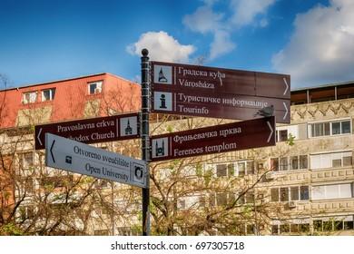 Subotica, Serbia - April 23, 2017: Signpost in the Subotica city, Serbia