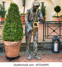 Subotica, Serbia - April 23, 2017: Sculpture in the street of Subotica town, Serbia