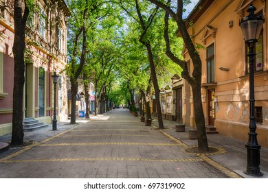 Subotica, Serbia - April 23, 2017: Street in Subotica town, Serbia