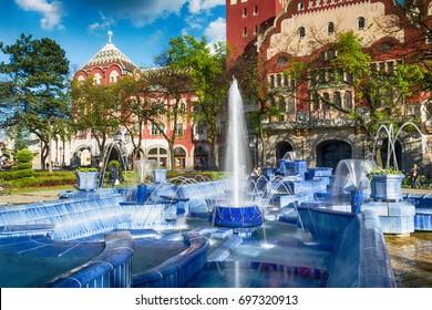 Subotica, Serbia - April 23, 2017: Blue fountain in Subotica town, Serbia