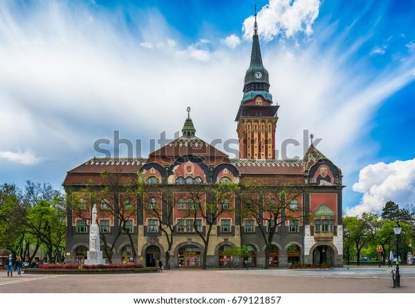Subotica, Serbia - April 23, 2017:  Retro building of city hall in Subotica city, Serbia