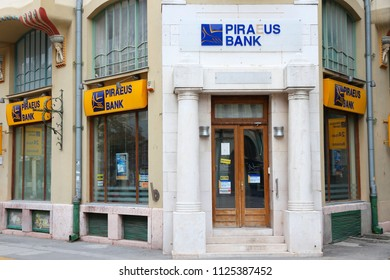 SUBOTICA, SERBIA - AUGUST 12, 2012: Piraeus Bank branch in Subotica, Serbia. There are 30 commercial banking companies operating in Serbia.