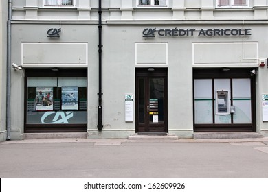 SUBOTICA, SERBIA - AUGUST 12: Credit Agricole bank branch on August 12, 2012 in Subotica, Serbia. CA is the largest retail banking group in France, and the 8th largest in the world.