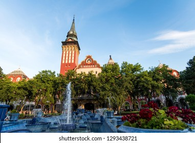 Subotica, Serbia - August 15, 2018: Subotica cathedral and city park with the fountain in north Serbia