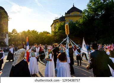 Subotica, Serbia - August 15, 2018: Subotica main square with many locals celebrating new harvest season, Duzijance day