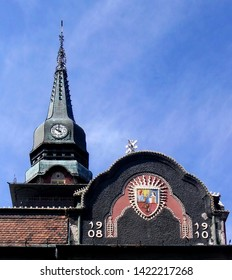 Subotica, Serbia, August 7th 2014. -  Top of the town hall in Subotica, Serbia, with clock on the tower