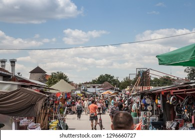 SUBOTICA, SERBIA - JULY 1, 2018: Crowd packing on the Subotica market, also refereed as Buvlak. It is one of the main flea markets and second hand selling place in Serbia and Vojvodina