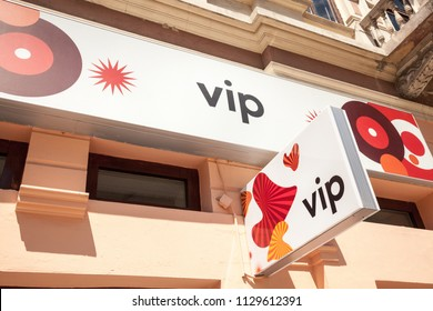 SUBOTICA, SERBIA - JULY 2, 2018: Vipnet Logo on their main shop in Subotica Vip Mobile, or Vipnet, is one of the main mobile network operator in Serbia, belongig to Telekom Austria