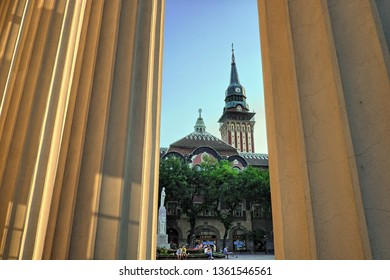 SUBOTICA, SERBIA - JULY 25, 2018: City Hall from the columns of National Theater