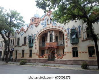 "SUBOTICA, SERBIA - JUNE 18, 2017: Street view of the Raichle Palace, an exceptional example of the Art Nouveau architecture. At present, it hosts the Modern Art Gallery ""Likovni susret""."