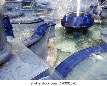 SUBOTICA, SERBIA - JUNE 18, 2017: Close up of the Blue Fountain in the city center of Subotica, Serbia.