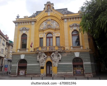 SUBOTICA, SERBIA - JUNE 18, 2017: The Public Library neo-baroque building was designed by Ferenc Raichle in 1897. Two Atlases carry one of the nicest balconies in the city.