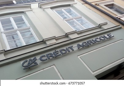 SUBOTICA, SERBIA - JUNE 18, 2017: Logo of a Credit Agricole Bank agency in Subotica, Serbia.