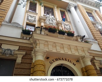 SUBOTICA, SERBIA - JUNE 18, 2017:  Facade of the Subotica Gymnasium, the first grammar school established in 1747 in the region.