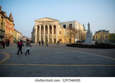 Subotica, Serbia - November 06, 2015: National theater on a public square in Subotica