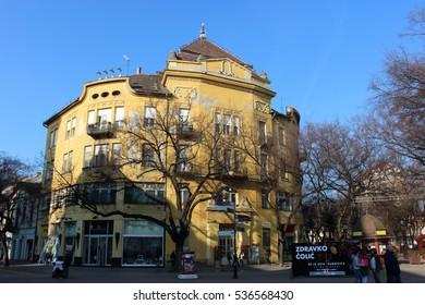 Subotica, Serbia - November 26. 2016: City center of Subotica, Serbia. Formerly the largest city of Vojvodina region, now the second largest city in the region after Novi Sad.