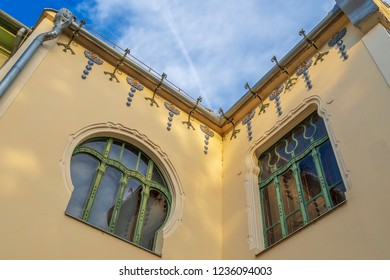 SUBOTICA, SERBIA, VOJVODINA - APRIL 28, 2018: Detail of House of architect Ferenc Raichle (Raichle Palace) in Hungarian Art Nouveau style. It was built in 1904 and now is a modern art gallery.