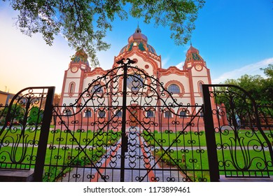 Subotica synagogue colorful morning view, Vojvodina region of Serbia