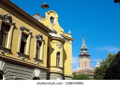 Subotica Tower City Hall and beautiful architecture in the city center, Serbia