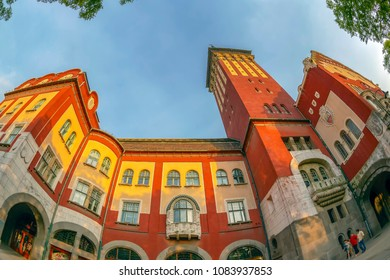 SUBOTICA / VOJVODINA, SERBIA - APRIL 28, 2018: Part of historic building of city hall built in Art Nouveau style between 1908-1910. Subotica is second town in the region of Vojvodina.