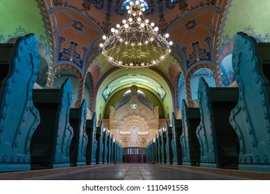 Subotica, Vojvodina / Serbia, June 11 2018, Renovated Jewish Synagogue from the inside
