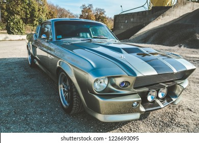 Subotica,Serbia -November 10, 2018: Ford Shelby GT500 Eleanor muscle american car from 1967, photographed outdoor on sandy path. Nice sunny morning. Custom made vehicle, based on a Ford Mustang.