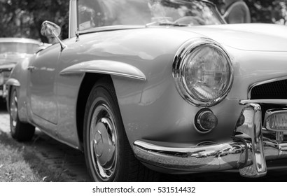 Subotica,Serbia-Jun 05,2016:Mercedes 190SL from 1962 on old timer PUBLIC carshow Subotica 2016.Vintage cars and motorcycles.In organization of Oldtimer Club Subotica.Free public entrance for everyone.