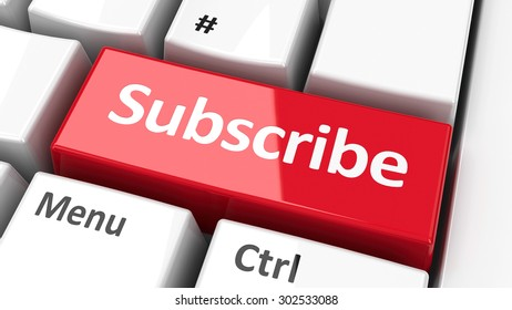 Subscribe key on the computer keyboard, three-dimensional rendering