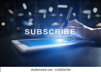 Subscribe now, subscription, newsletter button on virtual screen.