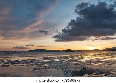 Subset at Ao Nang beach  in Thailand