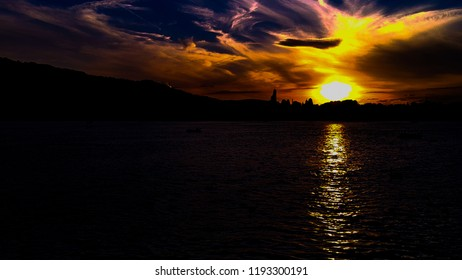 Subset over Lake Zurich