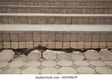 subsidence concrete block pavement has root thread problem