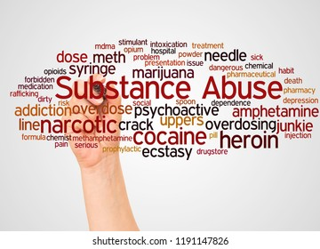 Substance Abuse and hand with marker word cloud concept on white background.