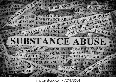 Substance Abuse. Torn pieces of paper with the words Substance Abuse. Concept Image. Black and White. Closeup.