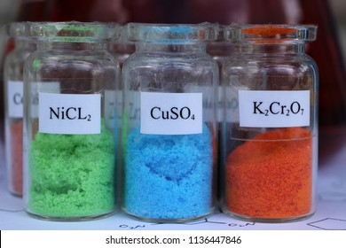 Substances that are used in analytical chemistry and electroplating: green nickel chloride, blue copper sulphate, orange potassium dichromate.