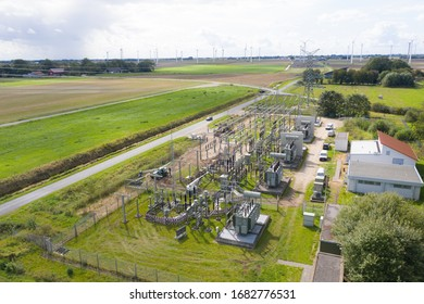 Substation from the air, Germany